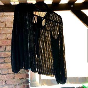 NWT Zara Black Tie Neckline Blouse Size S